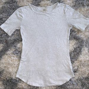 1/3 Sleeve Ribbed Cream Colored T-shirt